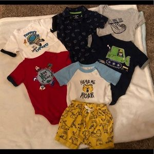 Lot of 6 Short Sleeve Onesies - 1 with Shorts
